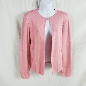 Worth Cardigan Open Front Round Neck Pink